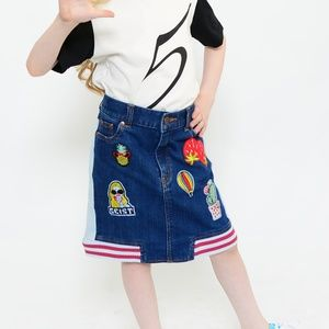 Denim Patched Skirt Two-Tone